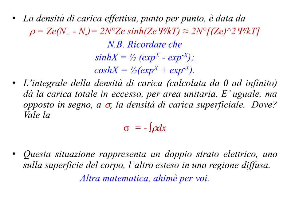 La densità di carica effettiva, punto per punto, è data da  = Ze(N + - N - )= 2N°Ze sinh(Ze  /kT) N.B.
