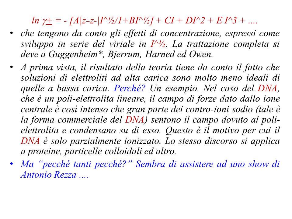 ln  + = - A|z + z-|I^½ dove A è la costante di Debye; i termini in z nel modulo rappresentano la valenza degli ioni in esame (la teoria si applica anche a specie non uni-univalenti) ed I rappresenta la forza ionica della soluzione, definita da I = (½)∑ c i z i ^2 dove c i è una concentrazione e z i la valenza dello ione i-esimo.