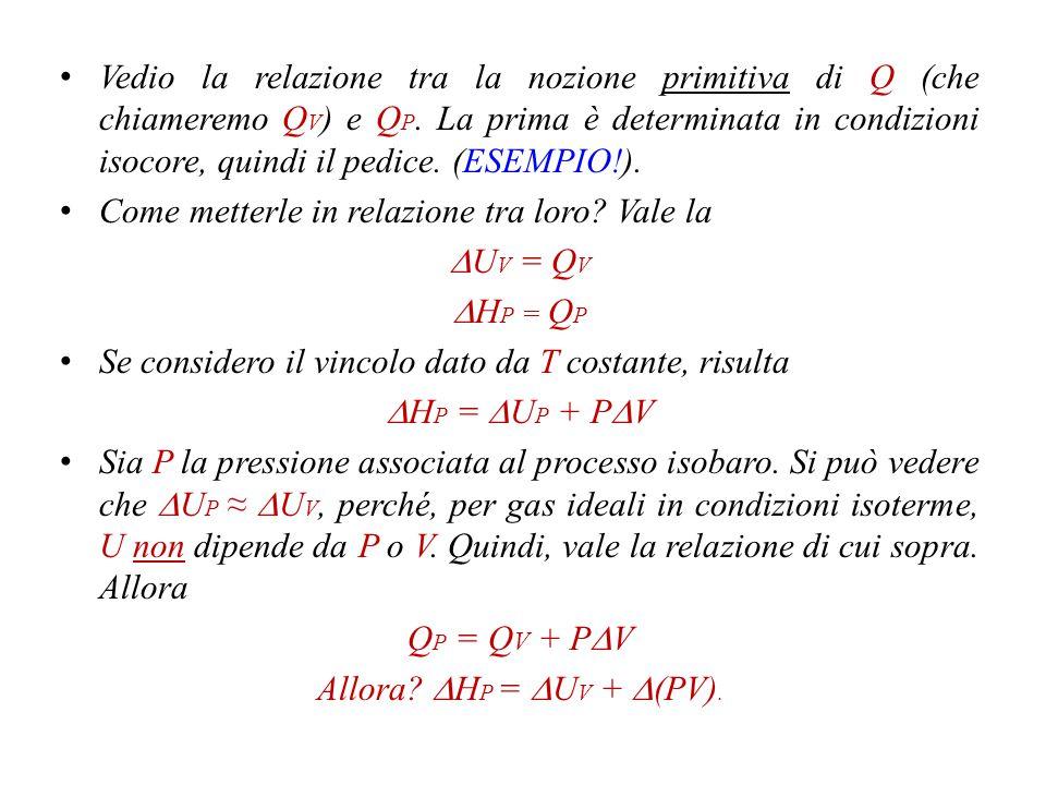 dQ P = dU + PdV + VdP = dU + d(PV) = d(U + PV) = dH Risulta che l'entalpia, H, è una funzione di stato*, che definisce una nuova proprietà termodinamica.