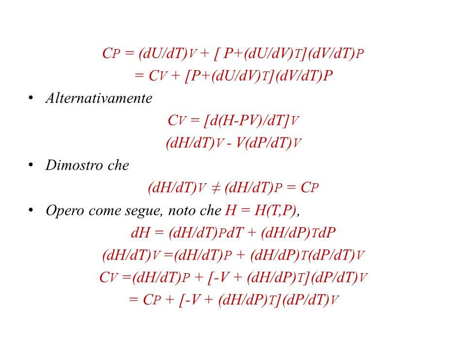 Se opero a P o V costante (ricordate?) risulta C P = (dQ/dT) P C V = (dQ/dT) V Però dQ P = dH P C P = (dH/dT) P dQ V = dU V C V = (dU/dT) V Sono in relazione tra loro, in qualche maniera.