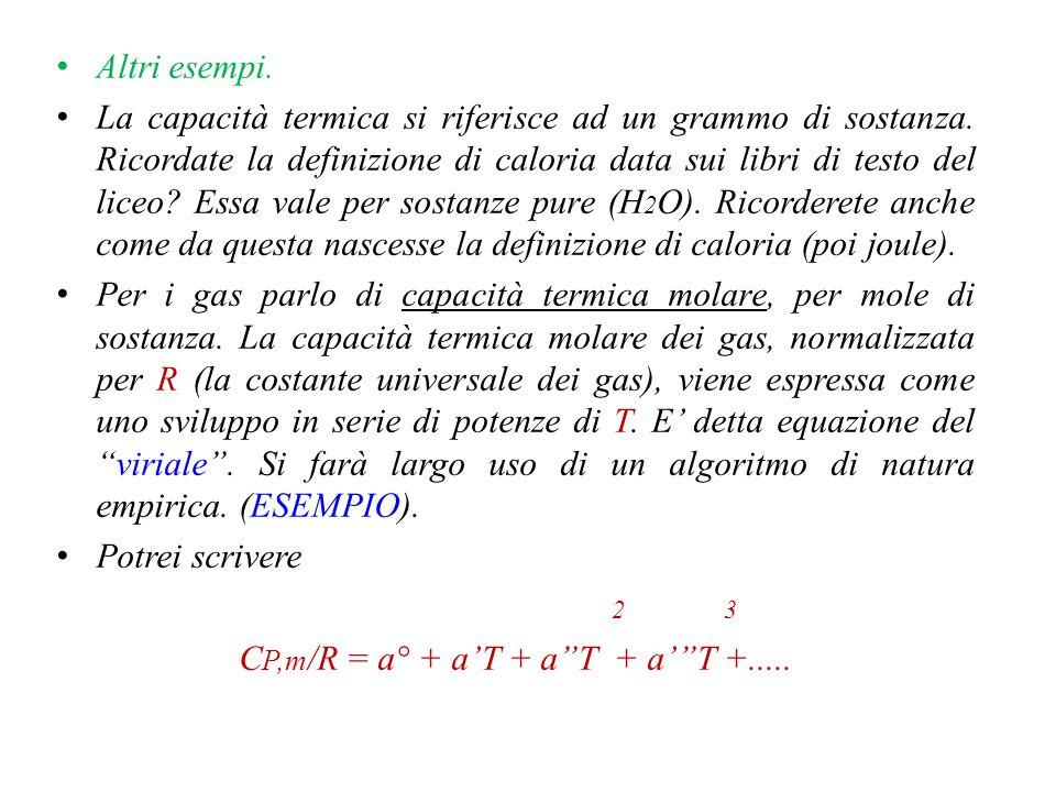 C P = (dU/dT) V + [ P+(dU/dV) T ](dV/dT) P = C V + [P+(dU/dV) T ](dV/dT)P Alternativamente C V = [d(H-PV)/dT] V (dH/dT) V - V(dP/dT) V Dimostro che (dH/dT) V ≠ (dH/dT) P = C P Opero come segue, noto che H = H(T,P), dH = (dH/dT) P dT + (dH/dP) T dP (dH/dT) V =(dH/dT) P + (dH/dP) T (dP/dT) V C V =(dH/dT) P + [-V + (dH/dP) T ](dP/dT) V = C P + [-V + (dH/dP) T ](dP/dT) V