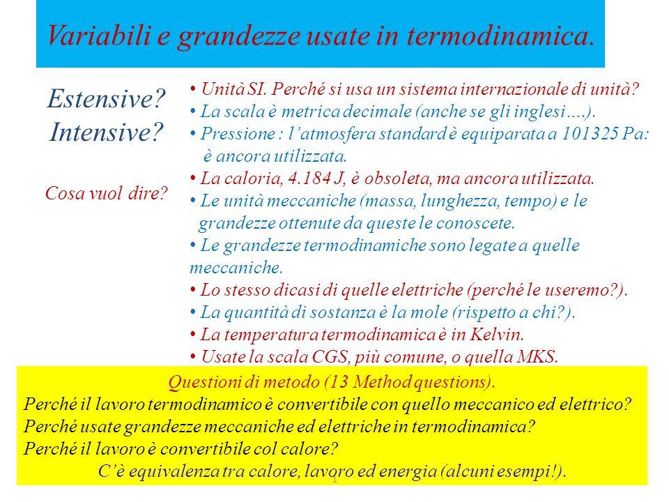 Variabili e grandezze usate in termodinamica.Estensive.