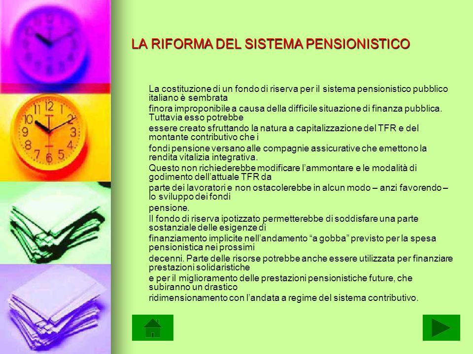 LA RIFORMA DEL SISTEMA PENSIONISTICO La costituzione di un fondo di riserva per il sistema pensionistico pubblico italiano è sembrata finora improponibile a causa della difficile situazione di finanza pubblica.