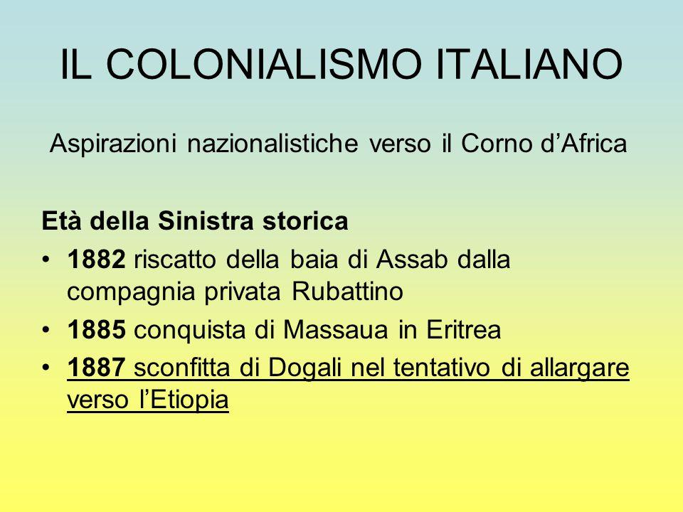 IL COLONIALISMO ITALIANO Aspirazioni nazionalistiche verso il Corno d'Africa Età della Sinistra storica 1882 riscatto della baia di Assab dalla compag