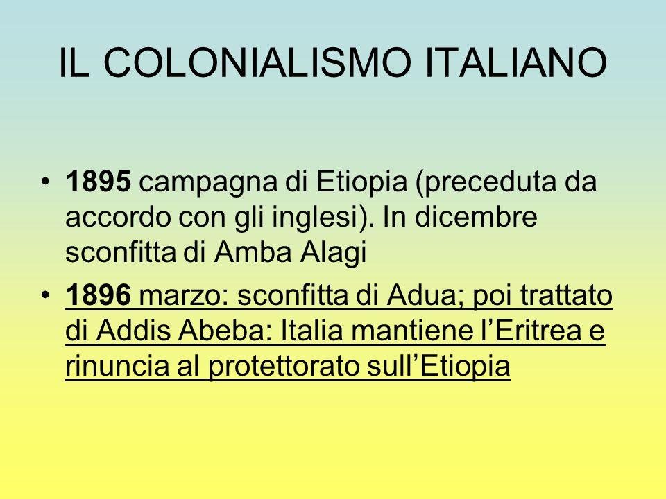 IL COLONIALISMO ITALIANO 1895 campagna di Etiopia (preceduta da accordo con gli inglesi). In dicembre sconfitta di Amba Alagi 1896 marzo: sconfitta di