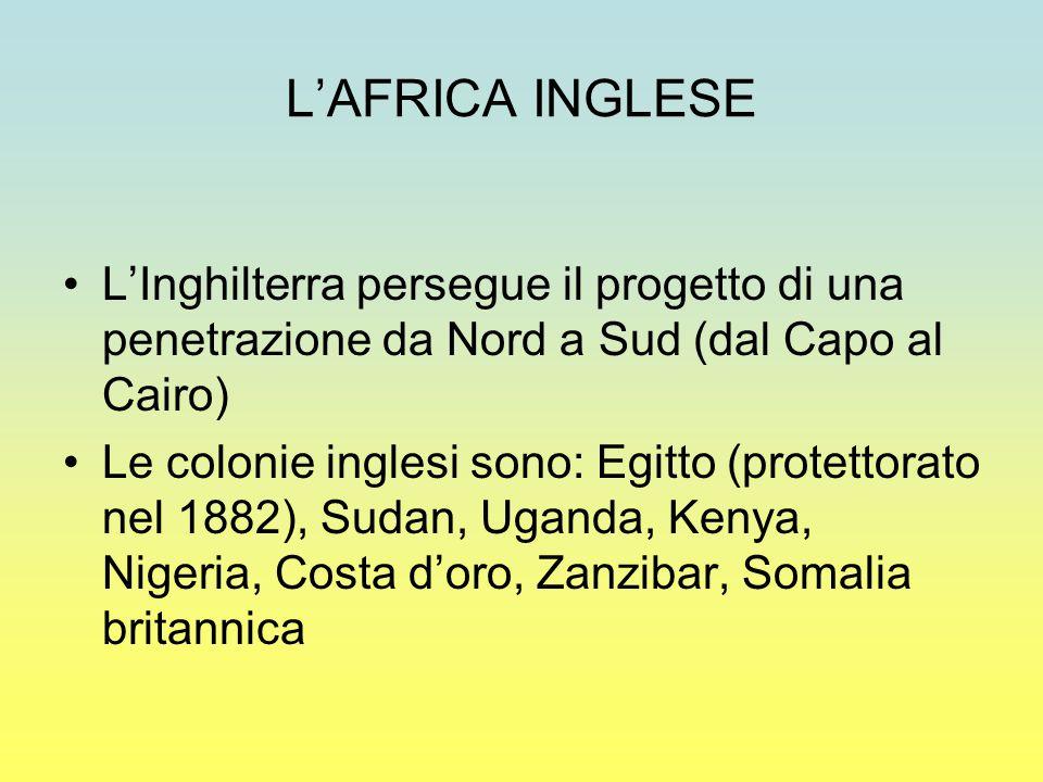 L'AFRICA INGLESE L'Inghilterra persegue il progetto di una penetrazione da Nord a Sud (dal Capo al Cairo) Le colonie inglesi sono: Egitto (protettorato nel 1882), Sudan, Uganda, Kenya, Nigeria, Costa d'oro, Zanzibar, Somalia britannica