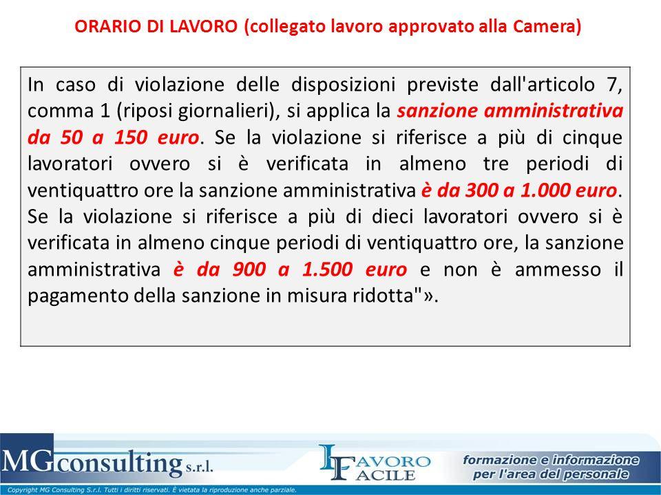 In caso di violazione delle disposizioni previste dall'articolo 7, comma 1 (riposi giornalieri), si applica la sanzione amministrativa da 50 a 150 eur