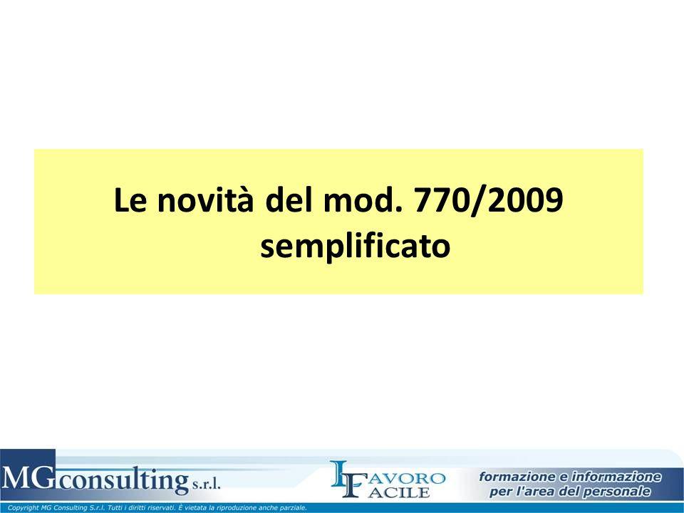 Le novità del mod. 770/2009 semplificato