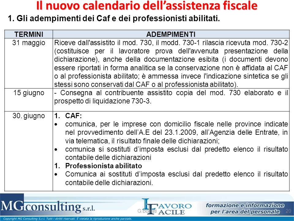 Il nuovo calendario dell'assistenza fiscale G.Bonati20 1. Gli adempimenti dei Caf e dei professionisti abilitati. TERMINI ADEMPIMENTI 31 maggioRiceve
