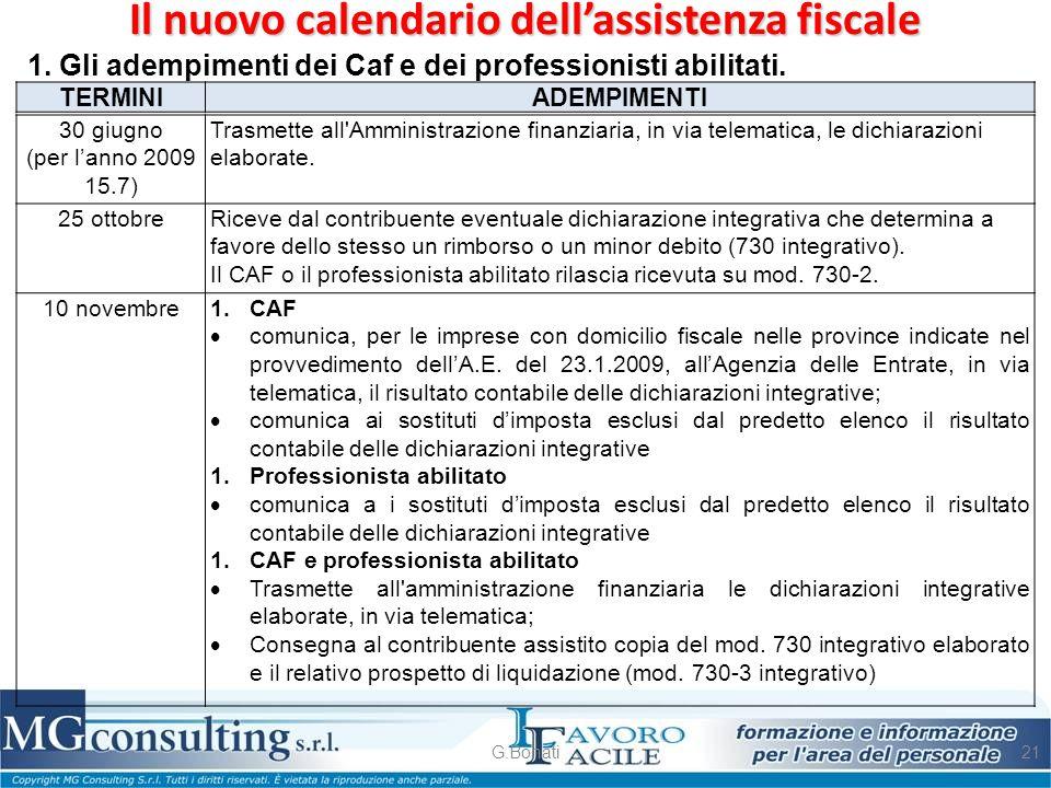 Il nuovo calendario dell'assistenza fiscale G.Bonati21 1. Gli adempimenti dei Caf e dei professionisti abilitati. 30 giugno (per l'anno 2009 15.7) Tra