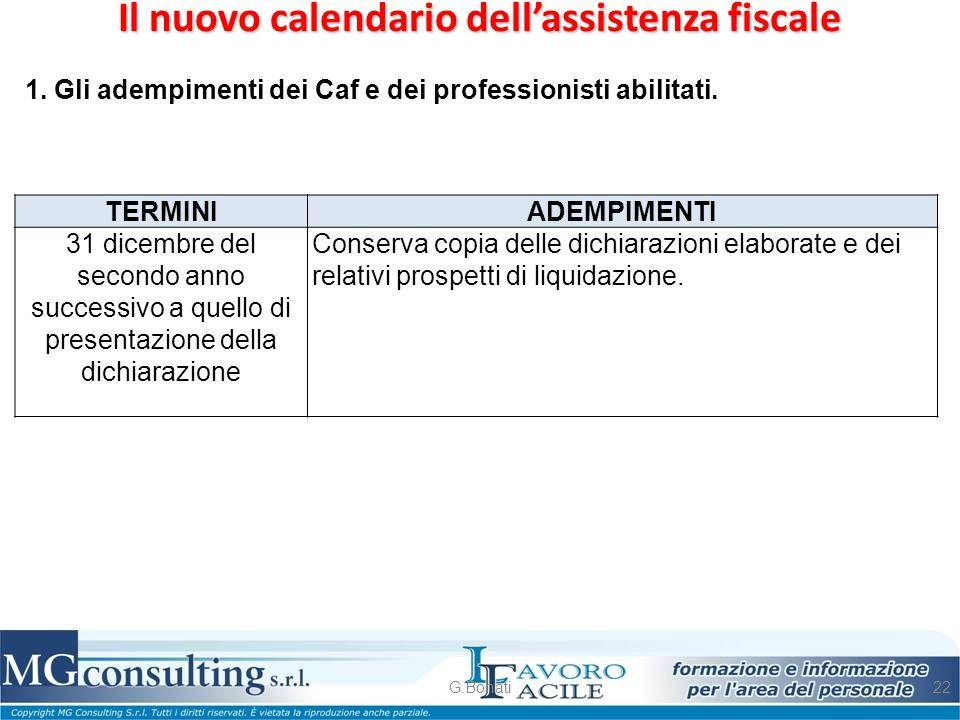 Il nuovo calendario dell'assistenza fiscale G.Bonati22 1. Gli adempimenti dei Caf e dei professionisti abilitati. TERMINI ADEMPIMENTI 31 dicembre del