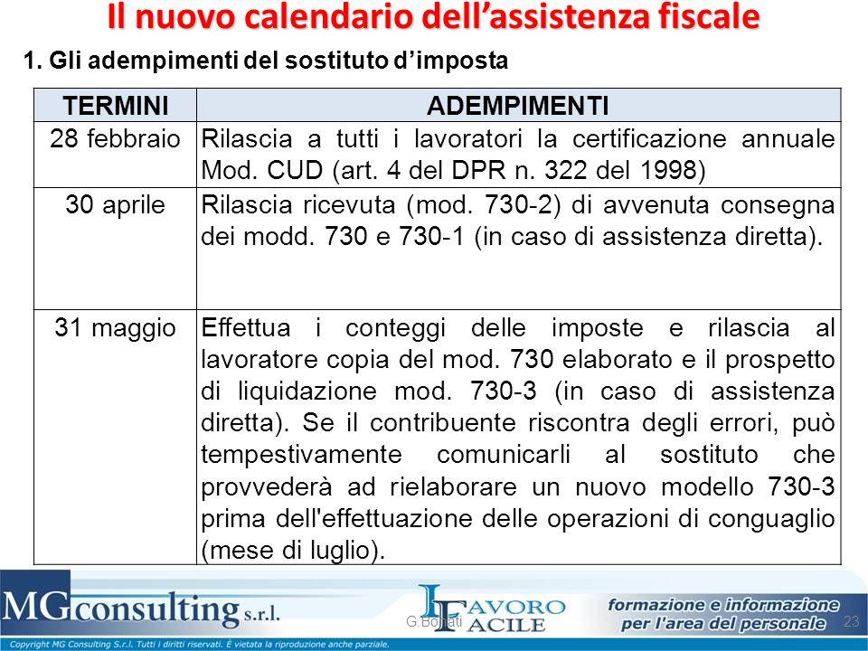 Il nuovo calendario dell'assistenza fiscale G.Bonati23 1. Gli adempimenti del sostituto d'imposta TERMINI ADEMPIMENTI 28 febbraioRilascia a tutti i la