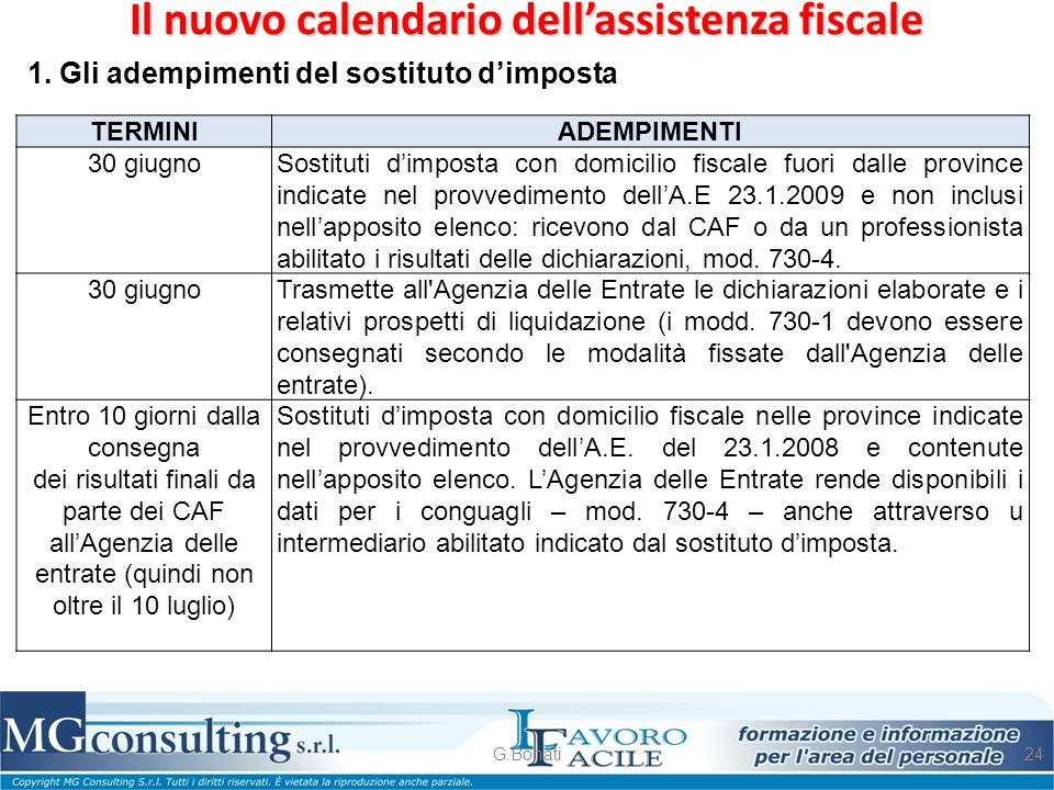 Il nuovo calendario dell'assistenza fiscale G.Bonati24 1. Gli adempimenti del sostituto d'imposta TERMINI ADEMPIMENTI 30 giugnoSostituti d'imposta con