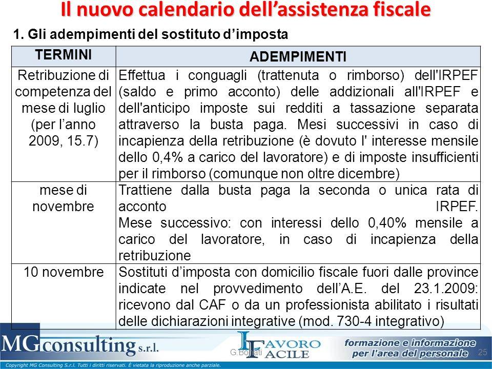 Il nuovo calendario dell'assistenza fiscale G.Bonati25 1. Gli adempimenti del sostituto d'imposta TERMINI ADEMPIMENTI Retribuzione di competenza del m