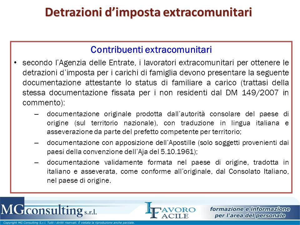 Detrazioni d'imposta extracomunitari Contribuenti extracomunitari secondo l'Agenzia delle Entrate, i lavoratori extracomunitari per ottenere le detraz