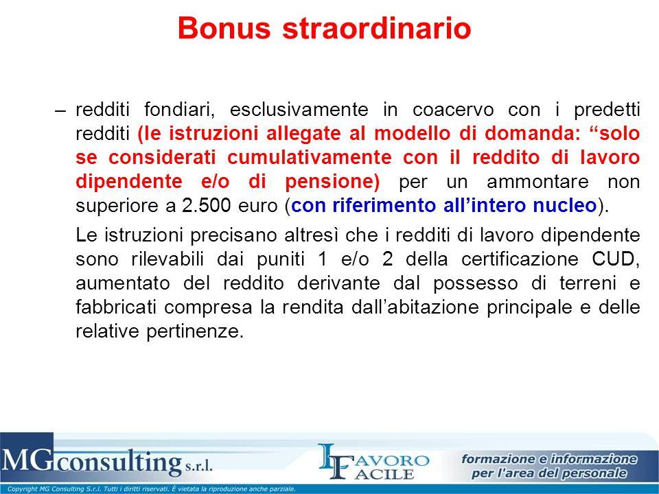 """Bonus straordinario –redditi fondiari, esclusivamente in coacervo con i predetti redditi (le istruzioni allegate al modello di domanda: """"solo se consi"""