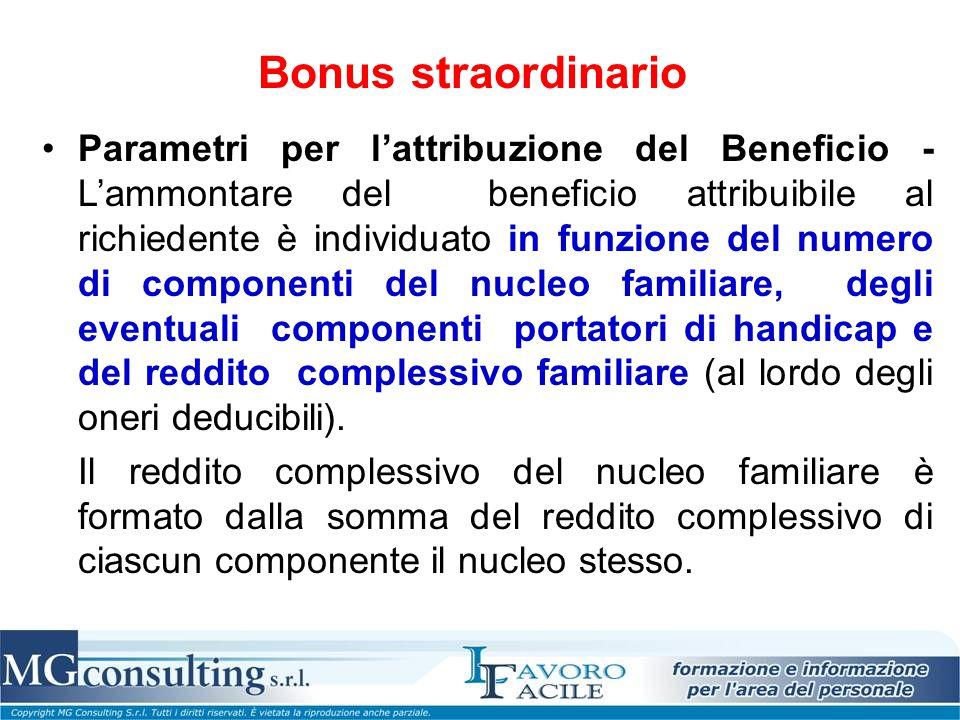 Bonus straordinario Parametri per l'attribuzione del Beneficio - L'ammontare del beneficio attribuibile al richiedente è individuato in funzione del n