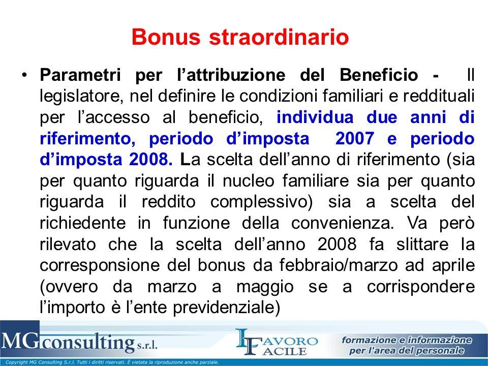 Bonus straordinario Parametri per l'attribuzione del Beneficio - Il legislatore, nel definire le condizioni familiari e reddituali per l'accesso al be