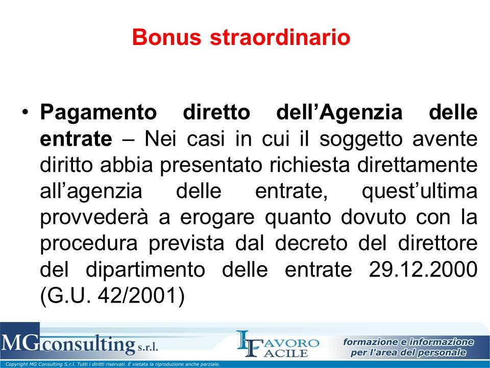 Bonus straordinario Pagamento diretto dell'Agenzia delle entrate – Nei casi in cui il soggetto avente diritto abbia presentato richiesta direttamente