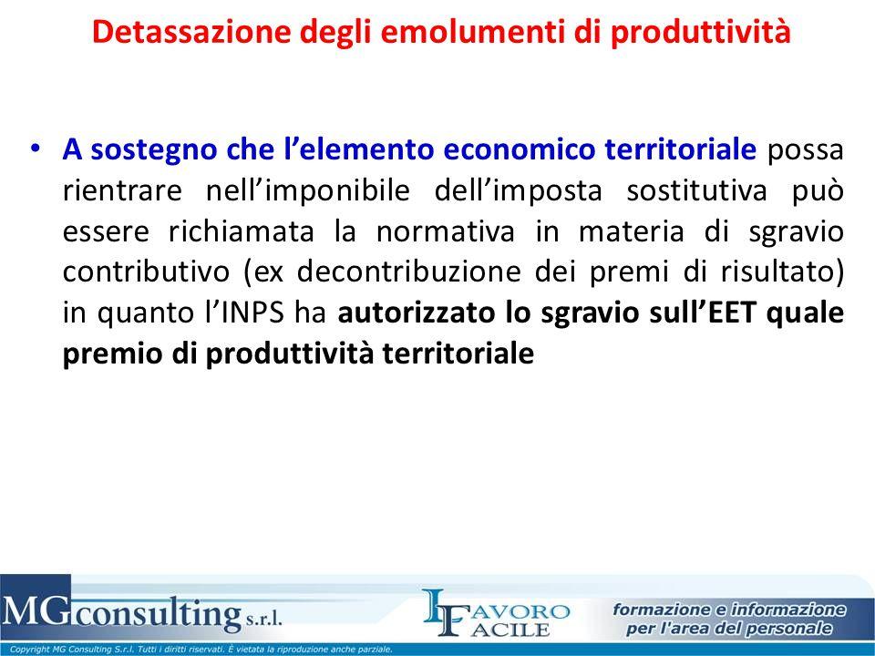 Detassazione degli emolumenti di produttività A sostegno che l'elemento economico territoriale possa rientrare nell'imponibile dell'imposta sostitutiv