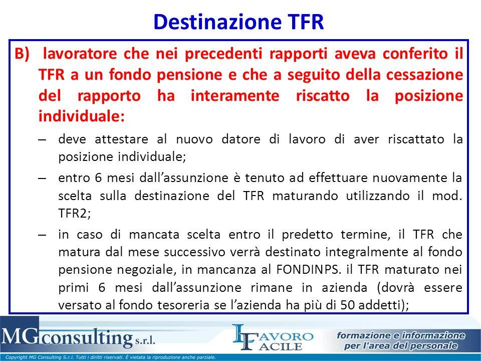 Destinazione TFR B) lavoratore che nei precedenti rapporti aveva conferito il TFR a un fondo pensione e che a seguito della cessazione del rapporto ha