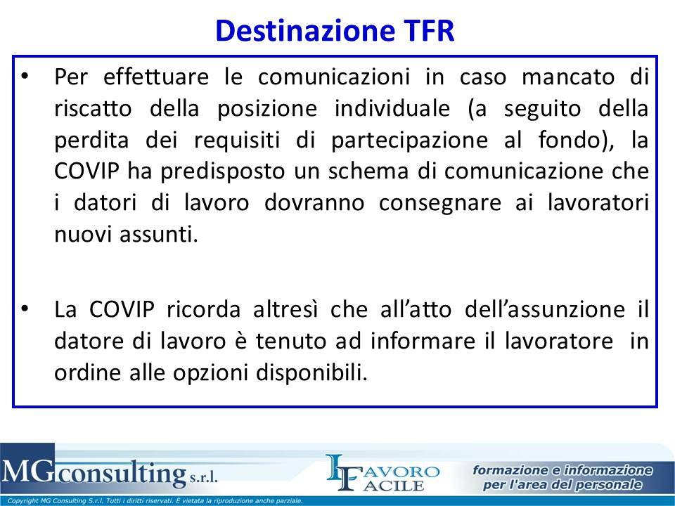 Destinazione TFR Per effettuare le comunicazioni in caso mancato di riscatto della posizione individuale (a seguito della perdita dei requisiti di par