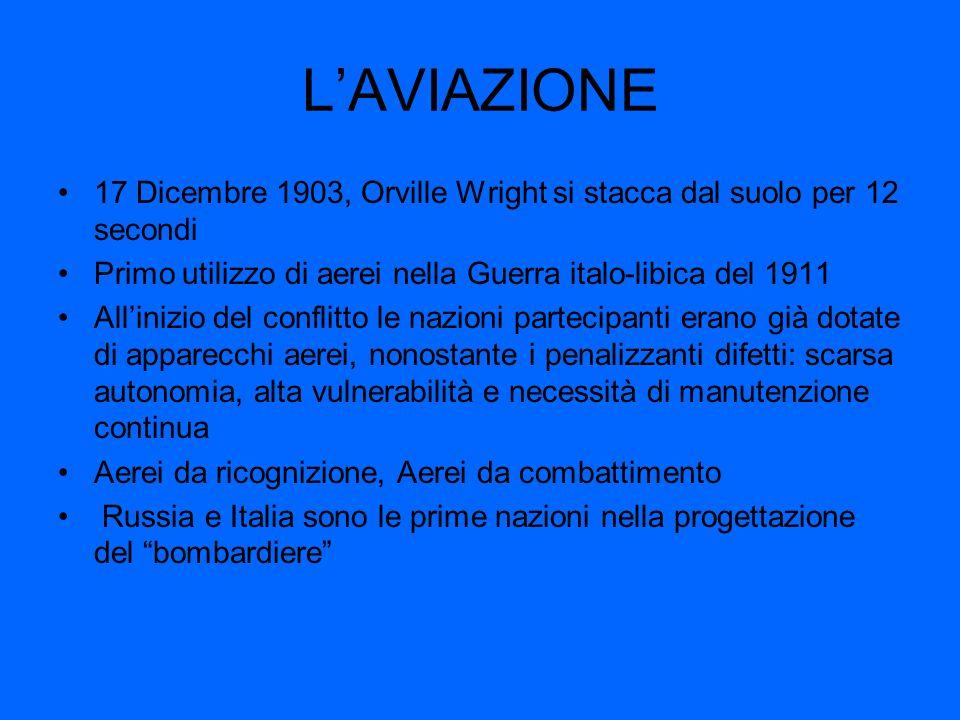 L'AVIAZIONE 17 Dicembre 1903, Orville Wright si stacca dal suolo per 12 secondi Primo utilizzo di aerei nella Guerra italo-libica del 1911 All'inizio