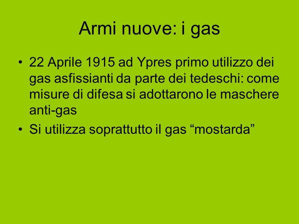 Armi nuove: i gas 22 Aprile 1915 ad Ypres primo utilizzo dei gas asfissianti da parte dei tedeschi: come misure di difesa si adottarono le maschere an