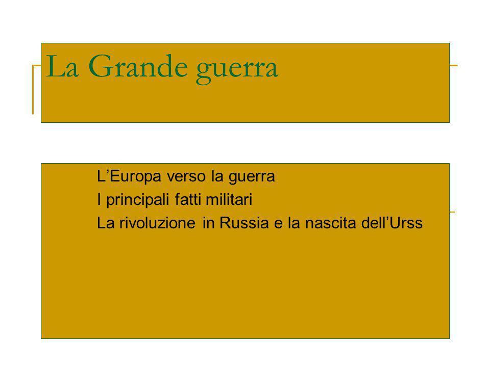 La Grande guerra L'Europa verso la guerra I principali fatti militari La rivoluzione in Russia e la nascita dell'Urss