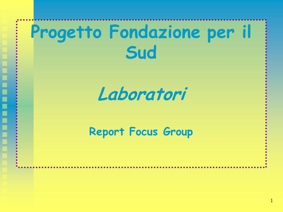 1 Progetto Fondazione per il Sud Laboratori Report Focus Group
