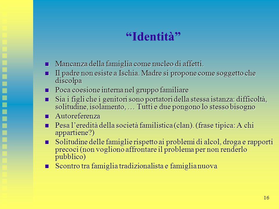 """16 """"Identità"""" Mancanza della famiglia come nucleo di affetti. Mancanza della famiglia come nucleo di affetti. Il padre non esiste a Ischia. Madre si p"""