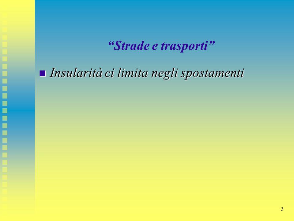 """3 """"Strade e trasporti"""" Insularità ci limita negli spostamenti Insularità ci limita negli spostamenti"""
