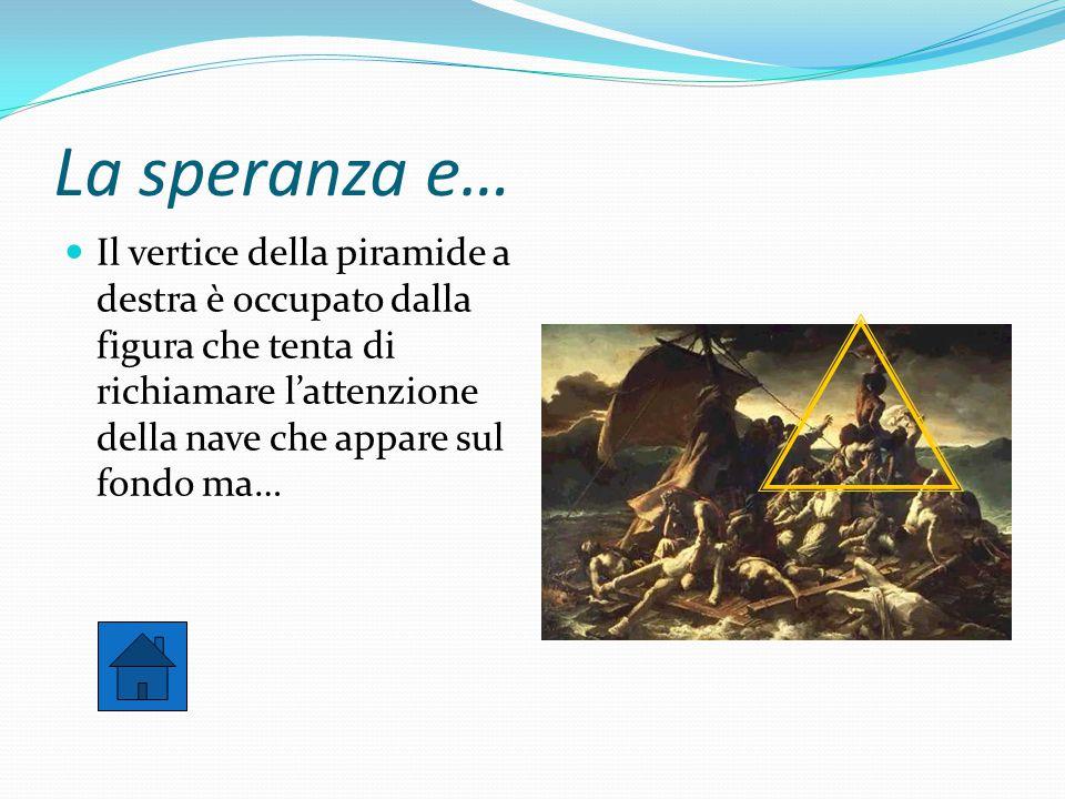 La speranza e… Il vertice della piramide a destra è occupato dalla figura che tenta di richiamare l'attenzione della nave che appare sul fondo ma…