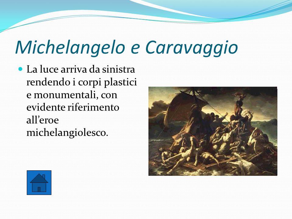 Michelangelo e Caravaggio La luce arriva da sinistra rendendo i corpi plastici e monumentali, con evidente riferimento all'eroe michelangiolesco.