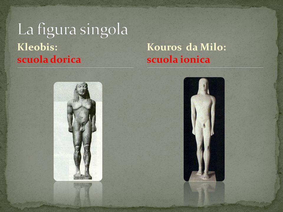 Kleobis: scuola dorica Kouros da Milo: scuola ionica