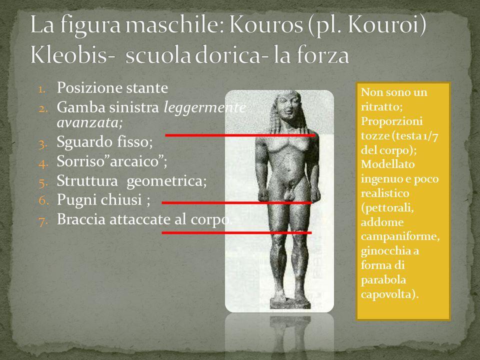 Non sono un ritratto; Proporzioni tozze (testa 1/7 del corpo); Modellato ingenuo e poco realistico (pettorali, addome campaniforme, ginocchia a forma