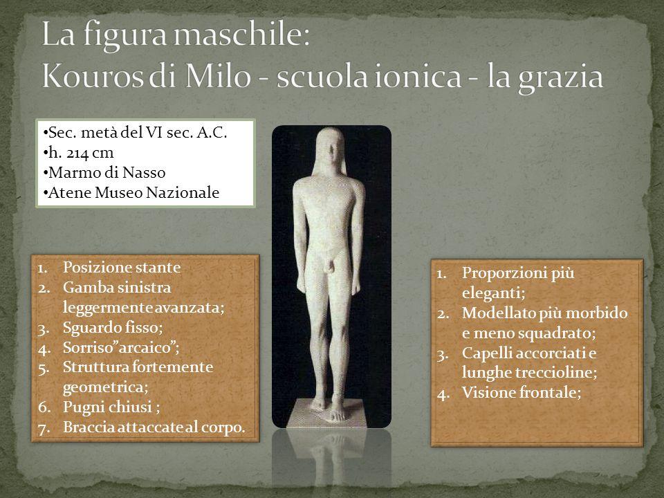 Sec. metà del VI sec. A.C. h. 214 cm Marmo di Nasso Atene Museo Nazionale 1.Proporzioni più eleganti; 2.Modellato più morbido e meno squadrato; 3.Cape