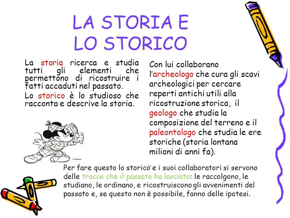 LA STORIA E LO STORICO La storia ricerca e studia tutti gli elementi che permettono di ricostruire i fatti accaduti nel passato. Lo storico è lo studi