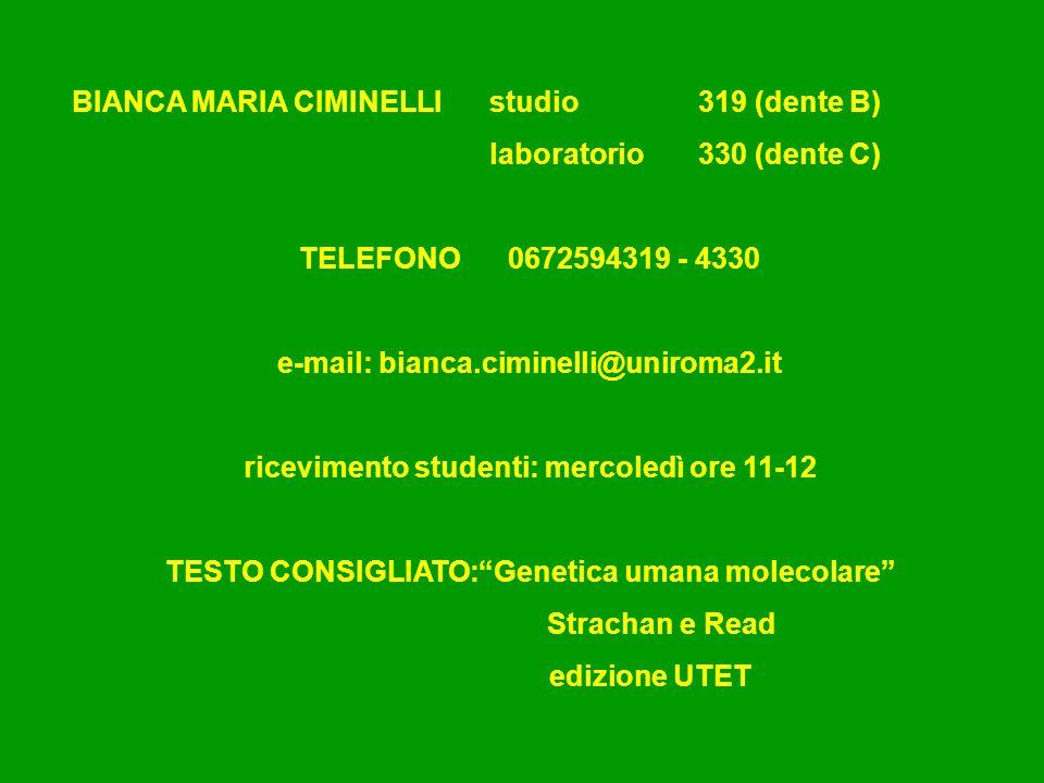 BIANCA MARIA CIMINELLI studio319 (dente B) laboratorio 330 (dente C) TELEFONO 0672594319 - 4330 e-mail: bianca.ciminelli@uniroma2.it ricevimento stude