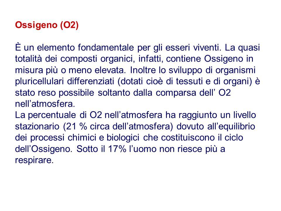 Ossigeno (O2) È un elemento fondamentale per gli esseri viventi. La quasi totalità dei composti organici, infatti, contiene Ossigeno in misura più o m
