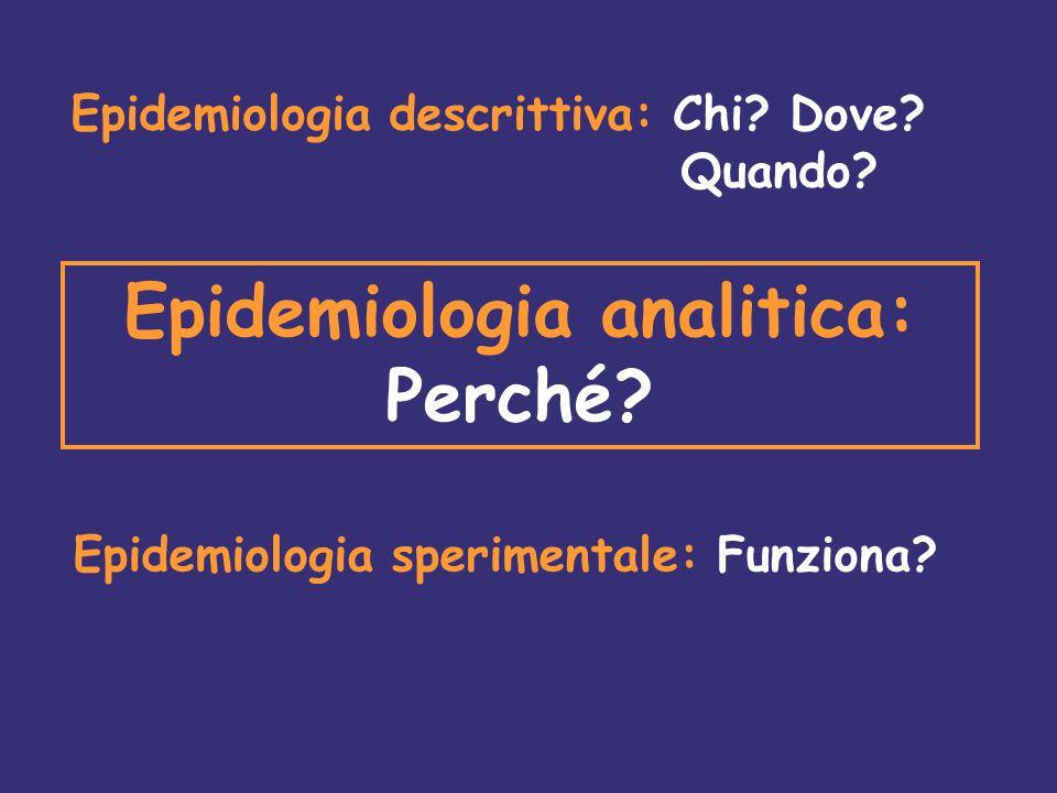 Epidemiologia descrittiva: Chi.Dove. Quando. Epidemiologia analitica: Perché.