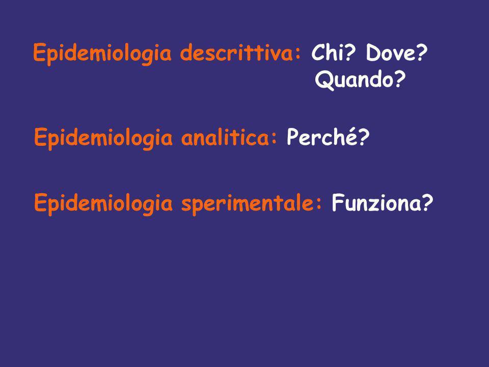 Epidemiologia descrittiva: Chi. Dove. Quando. Epidemiologia analitica: Perché.