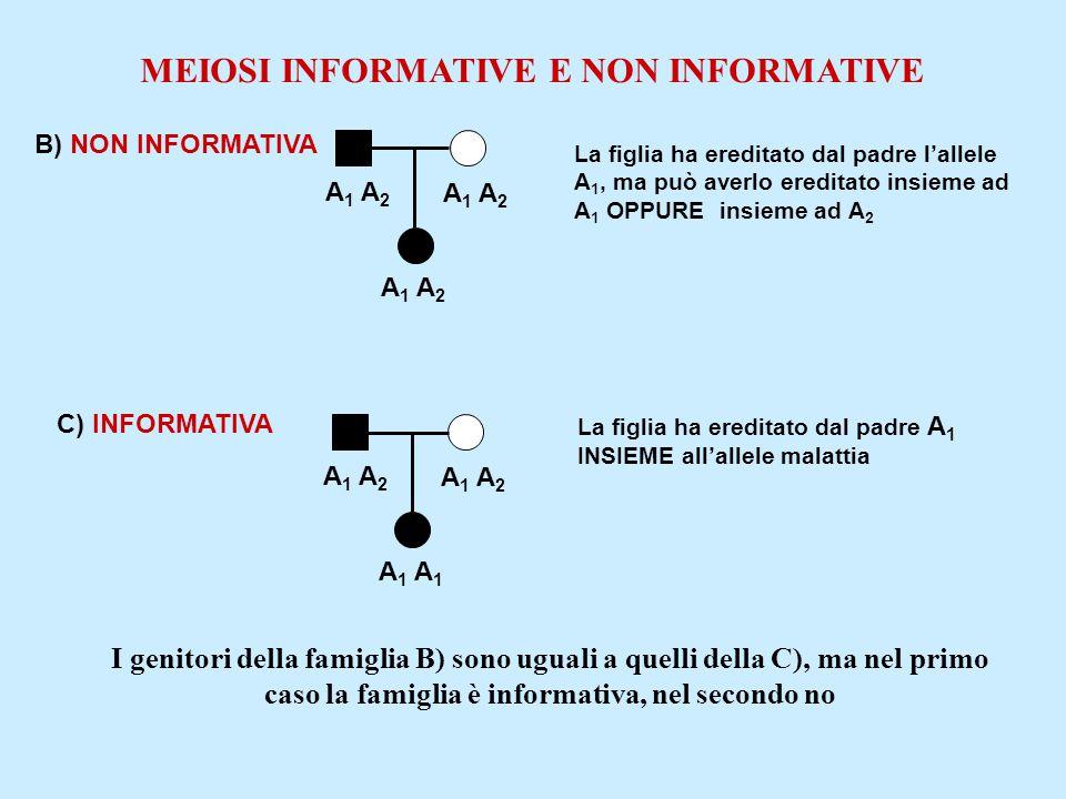 B) NON INFORMATIVA A 1 A 2 La figlia ha ereditato dal padre l'allele A 1, ma può averlo ereditato insieme ad A 1 OPPURE insieme ad A 2 MEIOSI INFORMAT