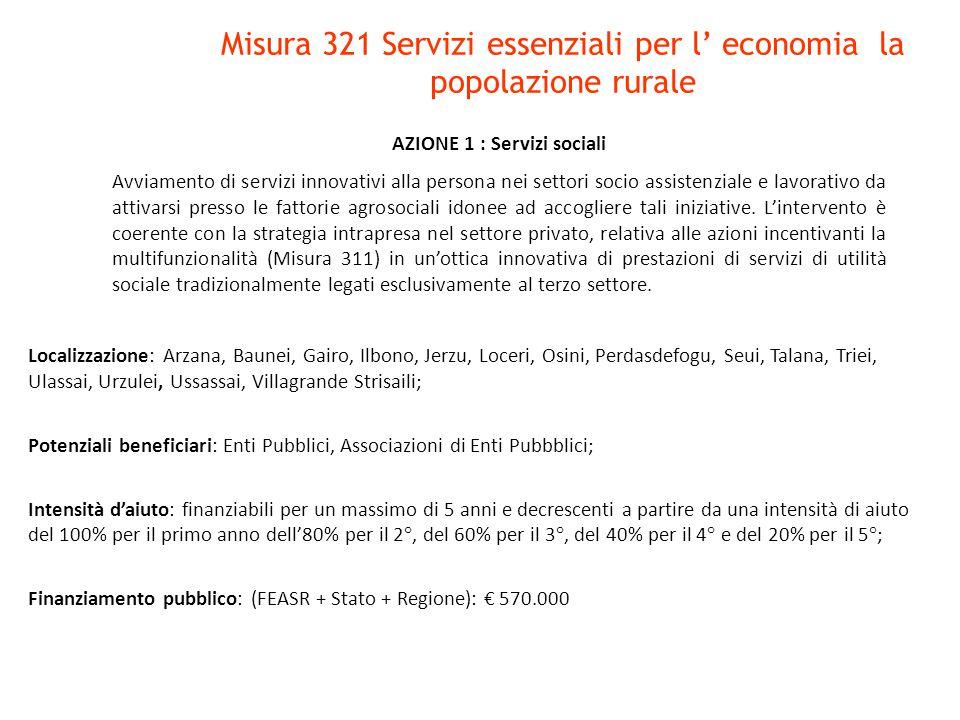 Misura 321 Servizi essenziali per l' economia la popolazione rurale Localizzazione: Arzana, Baunei, Gairo, Ilbono, Jerzu, Loceri, Osini, Perdasdefogu,