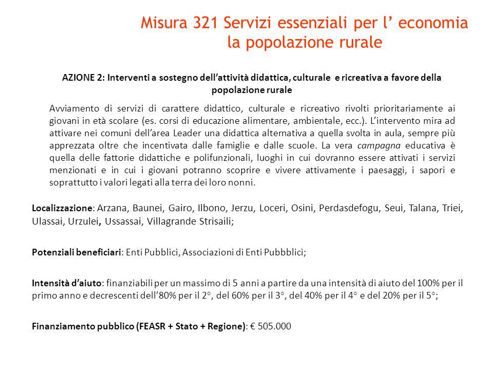 AZIONE 2: Interventi a sostegno dell'attività didattica, culturale e ricreativa a favore della popolazione rurale Avviamento di servizi di carattere d
