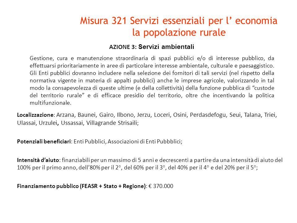 AZIONE 3: Servizi ambientali Gestione, cura e manutenzione straordinaria di spazi pubblici e/o di interesse pubblico, da effettuarsi prioritariamente