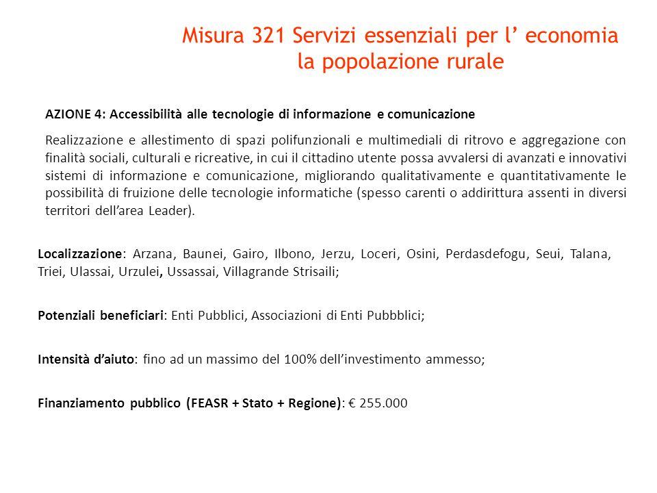 Misura 321 Servizi essenziali per l' economia la popolazione rurale AZIONE 4: Accessibilità alle tecnologie di informazione e comunicazione Realizzazi