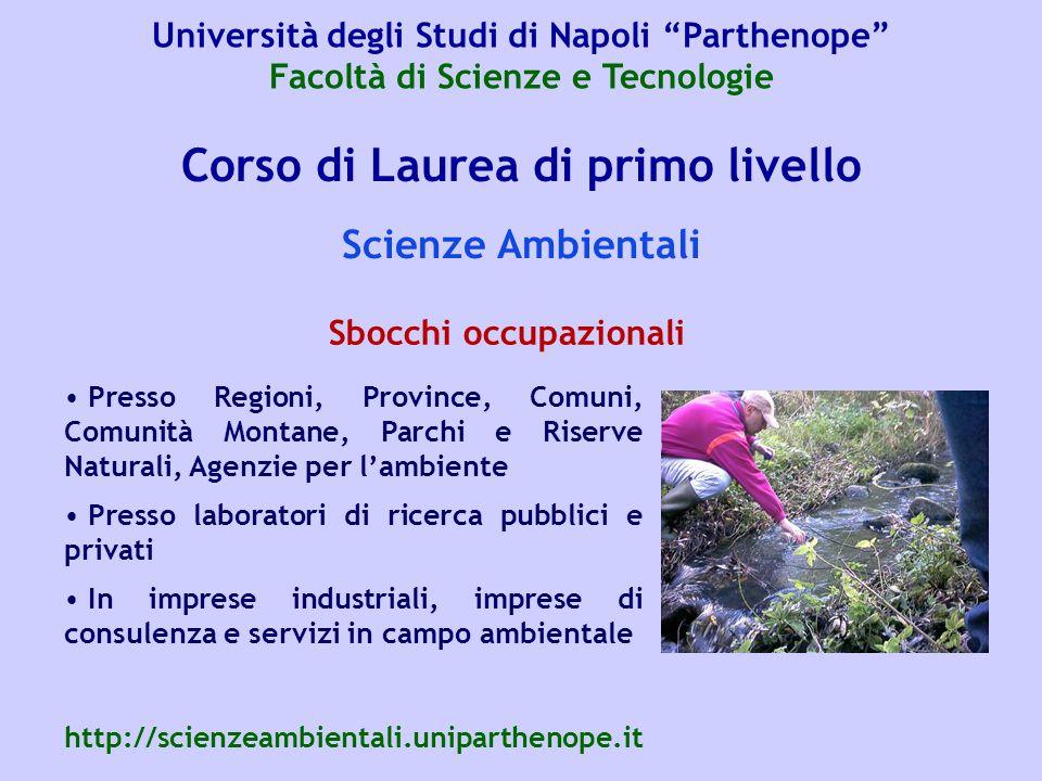 Corso di Laurea di primo livello Scienze Ambientali Presso Regioni, Province, Comuni, Comunità Montane, Parchi e Riserve Naturali, Agenzie per l'ambie