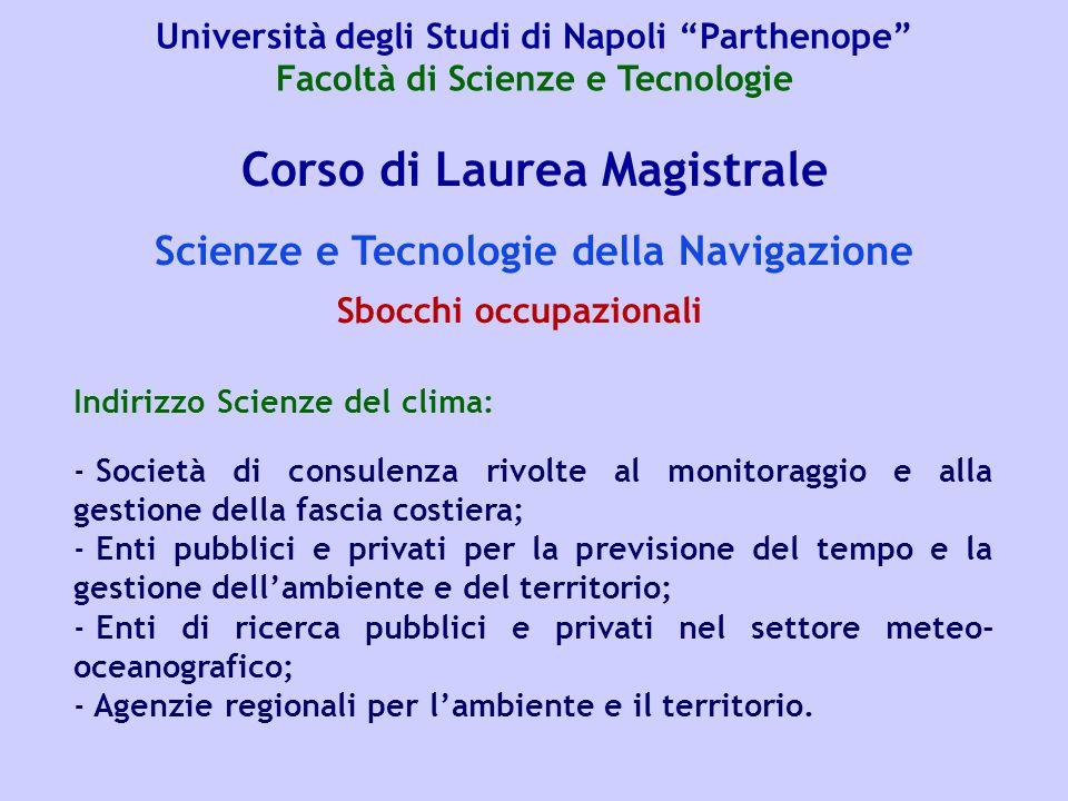 Corso di Laurea Magistrale Scienze e Tecnologie della Navigazione Indirizzo Scienze del clima: - Società di consulenza rivolte al monitoraggio e alla