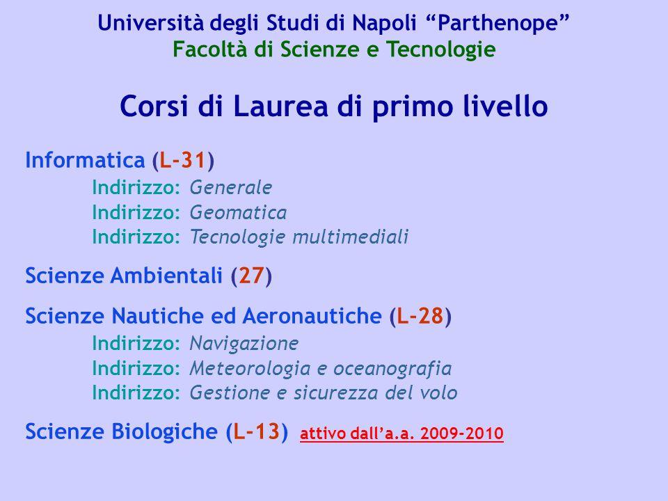 Corsi di Laurea di primo livello Informatica (L-31) Indirizzo: Generale Indirizzo: Geomatica Indirizzo: Tecnologie multimediali Scienze Ambientali (27